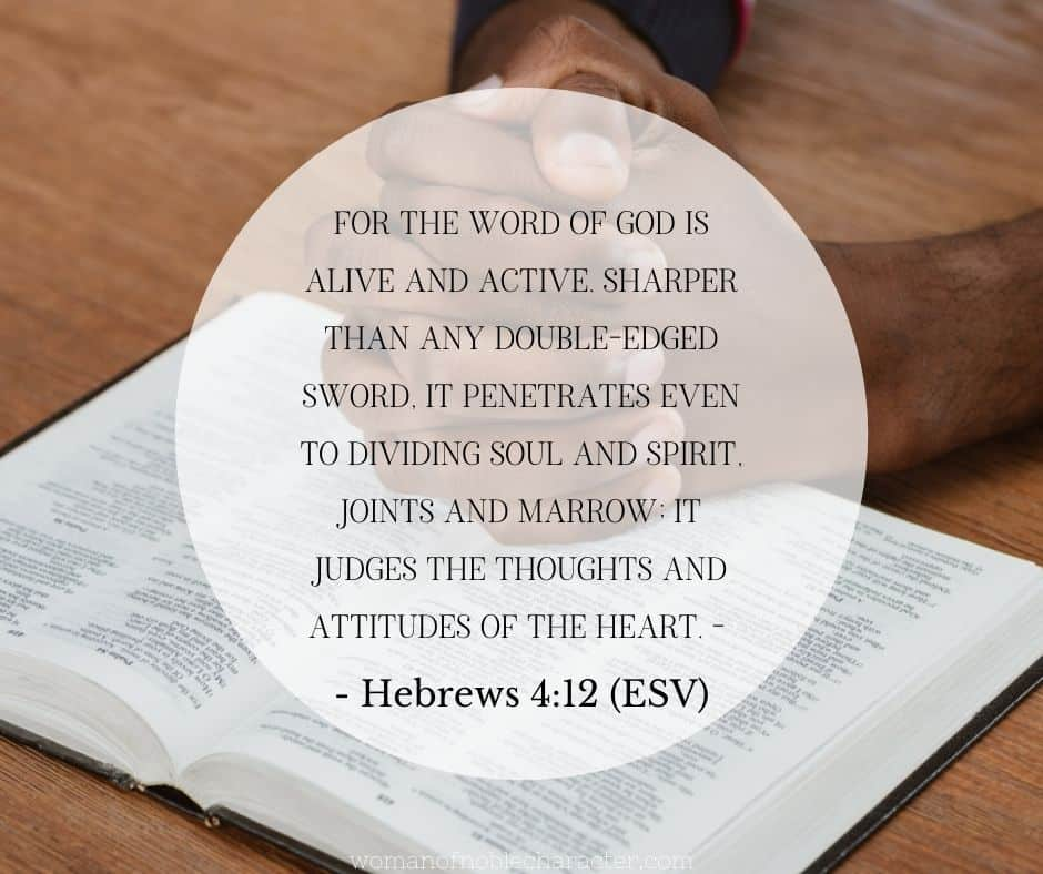 african american man's hands folded on Bible; Bible character study Hebrews 4:12