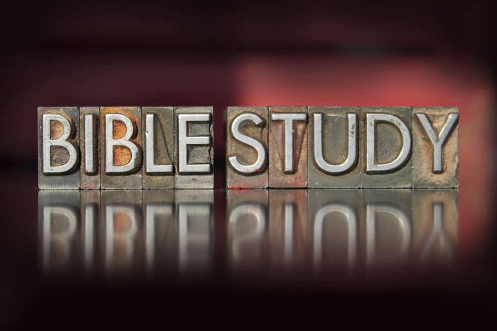 The words Bible Study written in vintage letterpress type; SOAP Bible study method