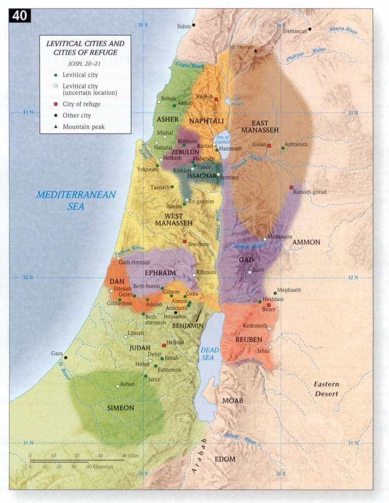 map of cities of refuge in the Bible