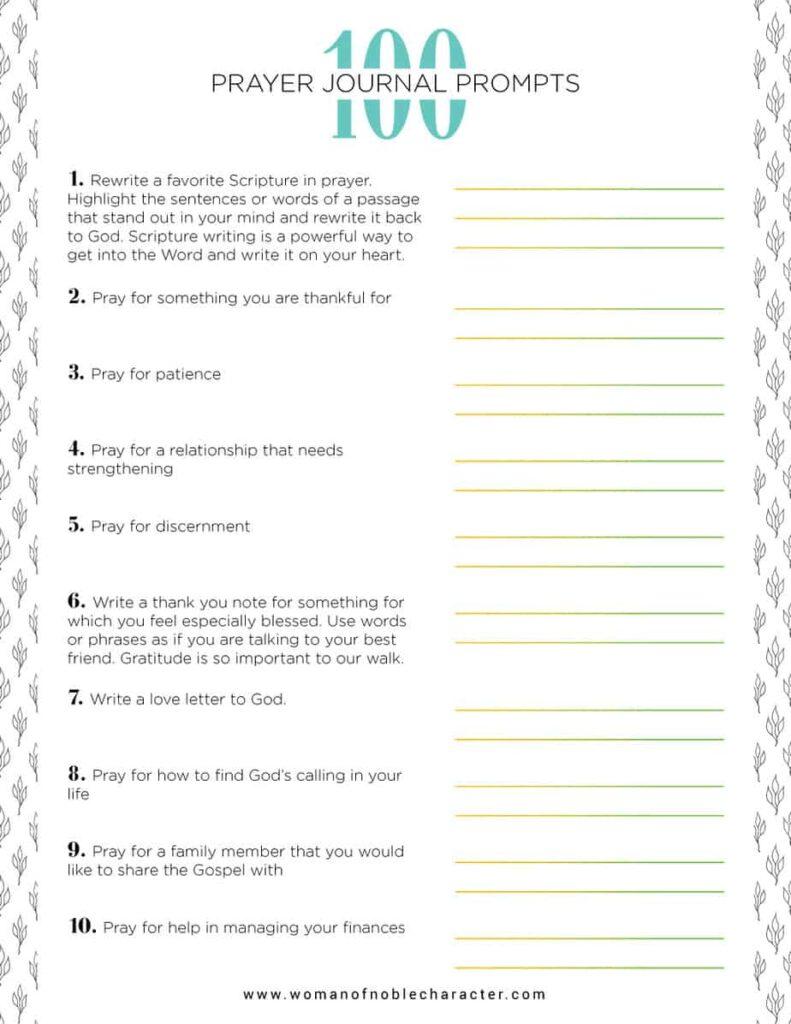 prayer journal prompts PDF