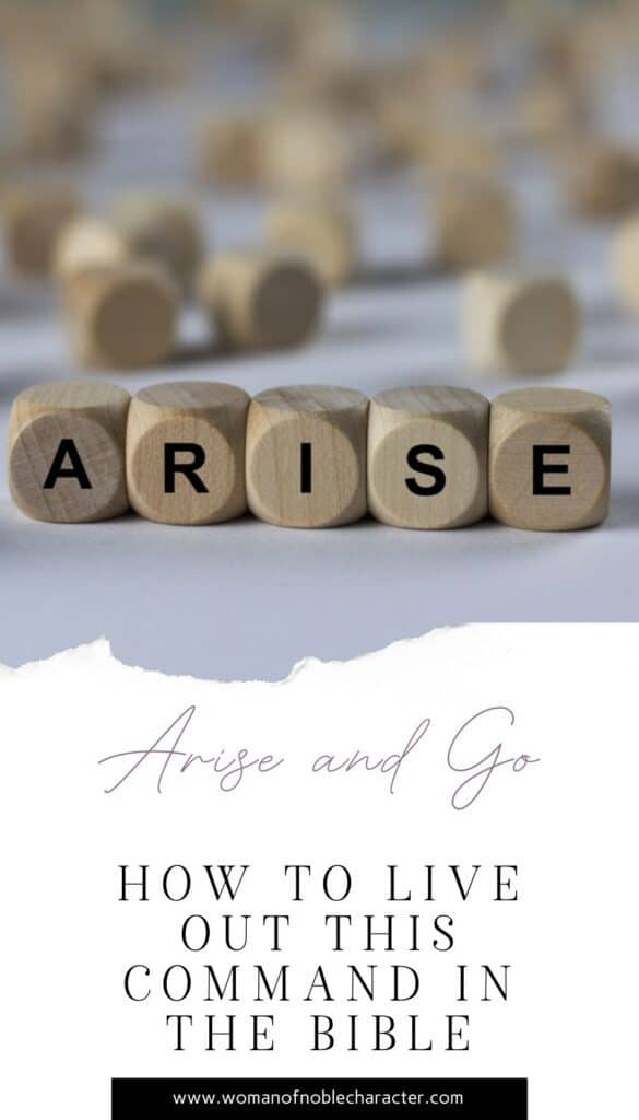 arise on wooden cubes; arise and go in scripture