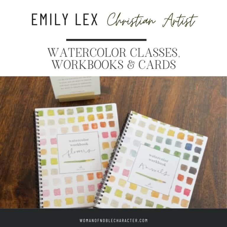 Christian Artist Emily Lex Watercolor Classes, Workbooks and BIble Verse Cards