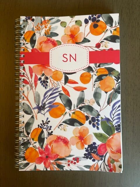 Paper Sunday, Christian journal, cover view, coil bound, personalized with in initials