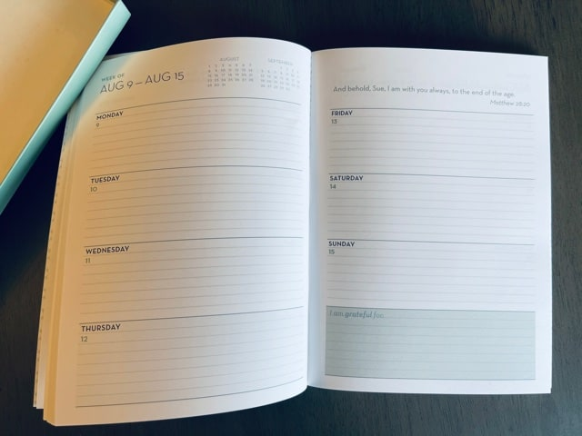 Paper Sunday, Christian planner, inside view, weekly calendar