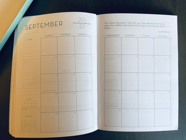 Paper Sunday, Christian planner, inside view mointhly calendar