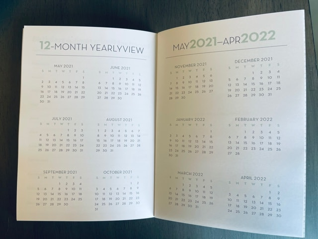 Paper Sunday, Christian planner, inside view yearly calendar