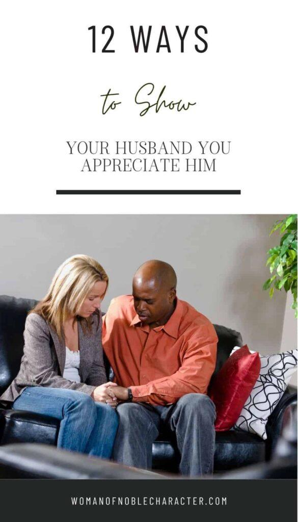 couple praying, ways to show your husband ypou appreciate him