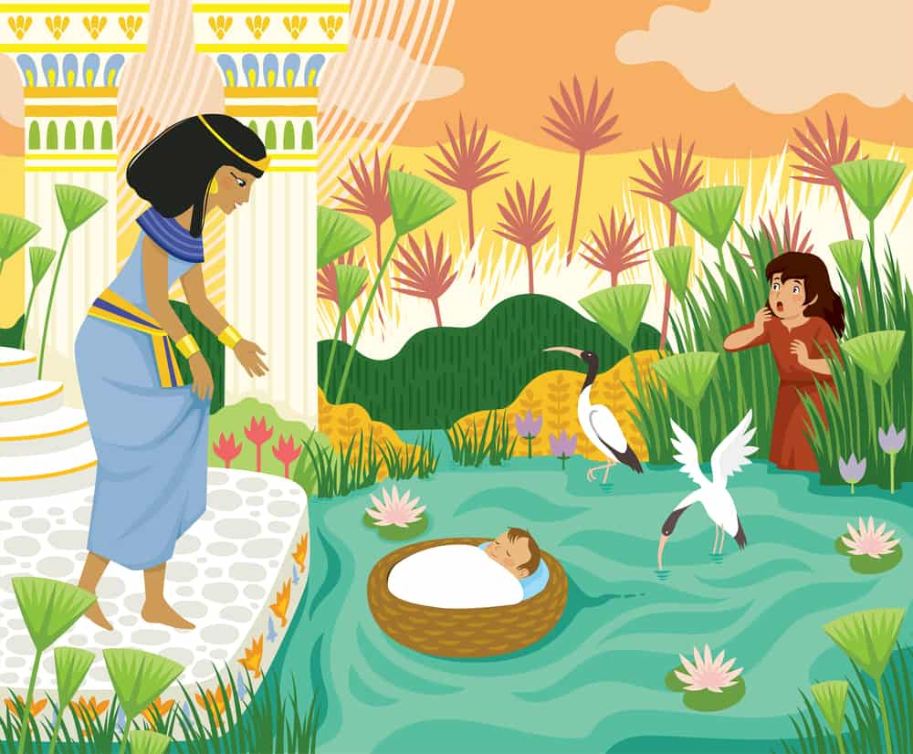 Passover bible scene of baby Moses in the basket floating on the Nile towards Pharaohs daughter with his sister Miriam watching behind the papyrus.; Jochebed in the Bible