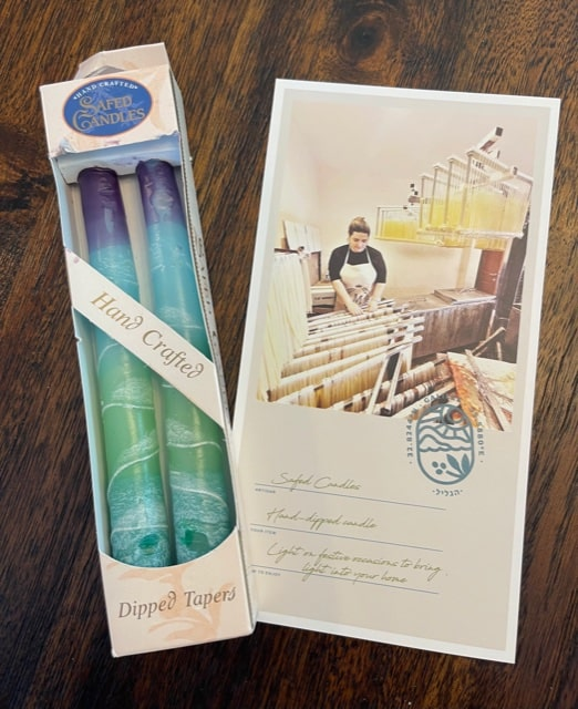 Safed candles, hand dipped candles, Artza box, subscription box for Christians