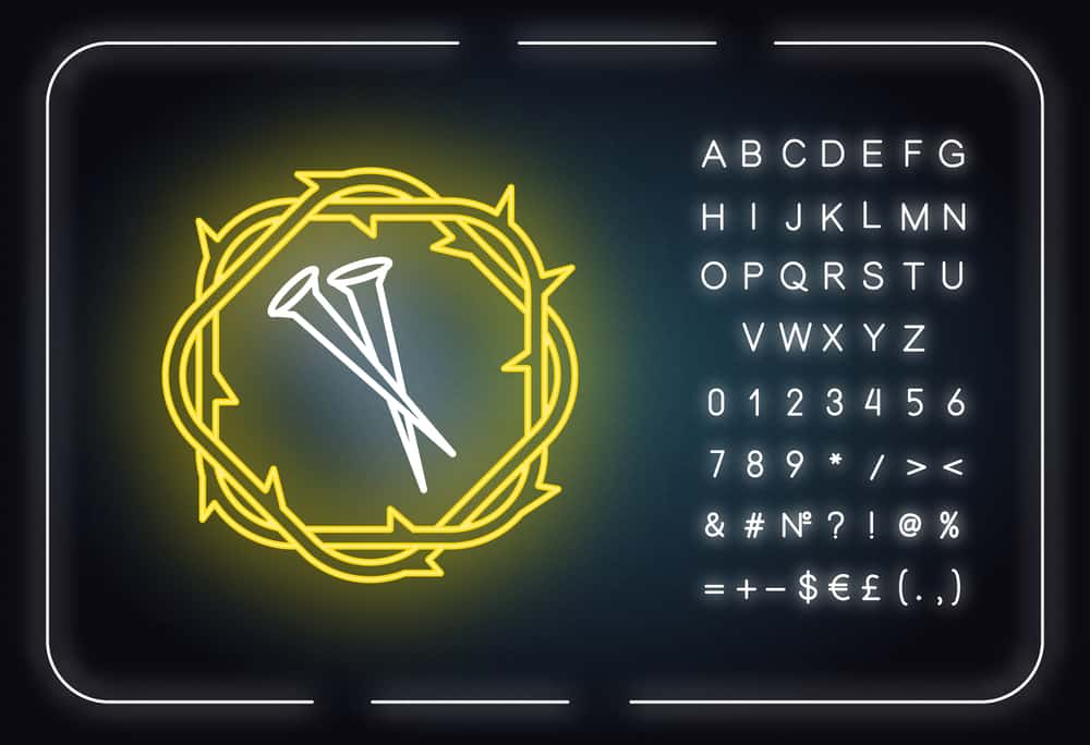 Crown of thorns and nails neon light icon. Symbols of Passion of Jesus Christ. Easter wreath and spikes. Gospel story. Glowing sign with alphabet, numbers and symbols. Vector isolated illustration; significance of 7 in the Bible