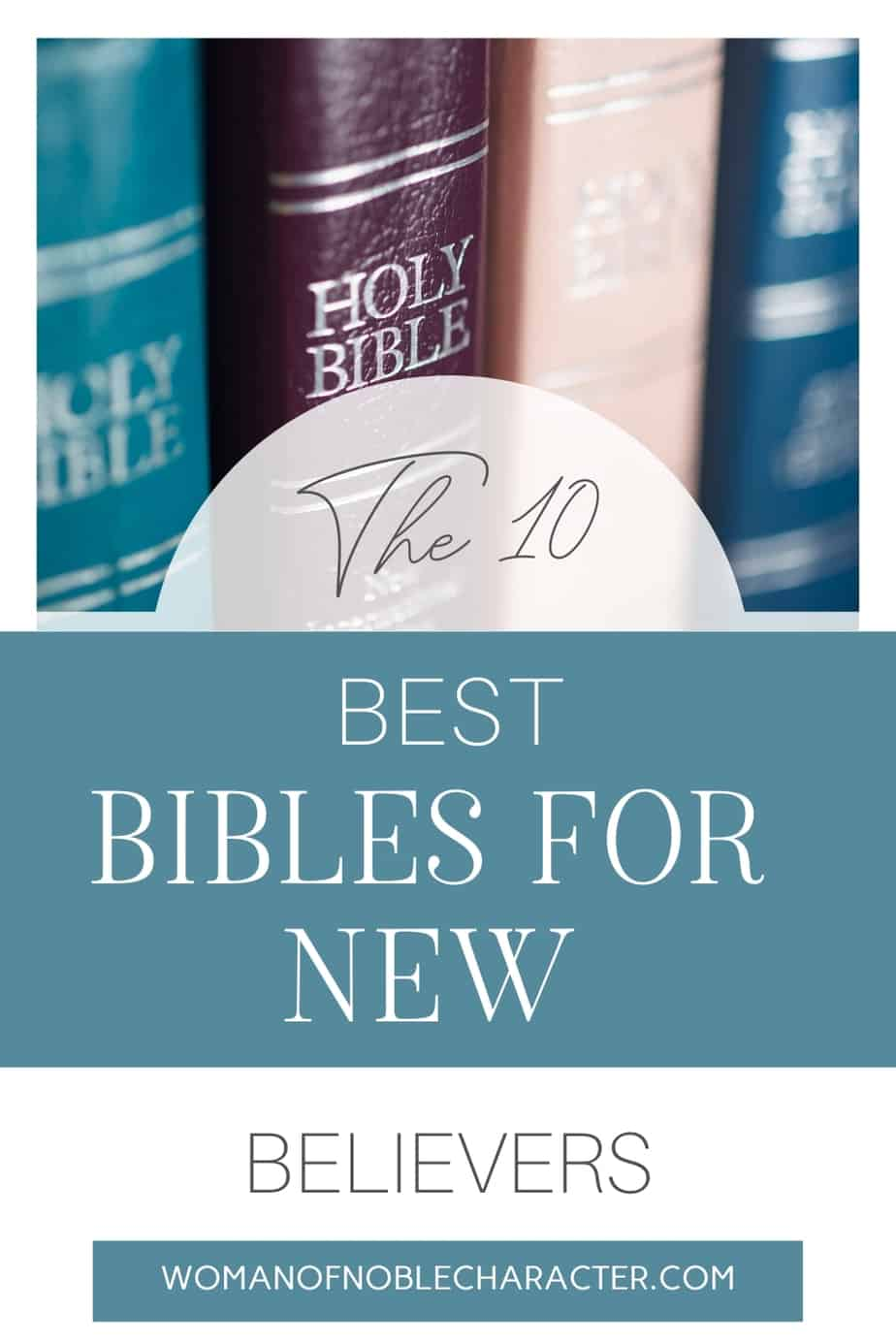 image of Bibles on a shelf with text overlay the 10 best Bibles for new believers