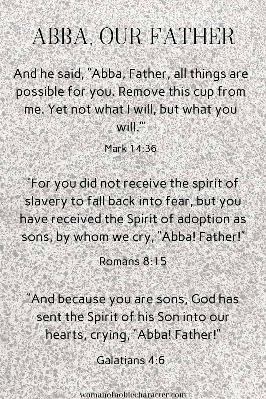 image of concrete background with verses containing the name of God Abba for the postA Look At Abba, Our Father: The Ultimate Name Of God