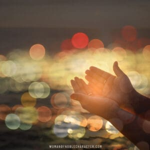 image of open hands palms up with yellow bokeh background for the post 5 Steps to Let Go and Let God on Difficult Days and Everyday