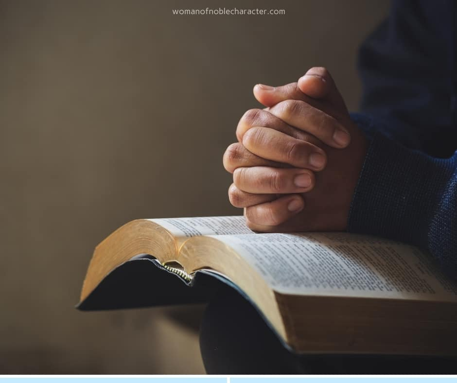 image of praying hands on open Bible for the post A look at Abba, Our Father: The Ultimate Name Of God