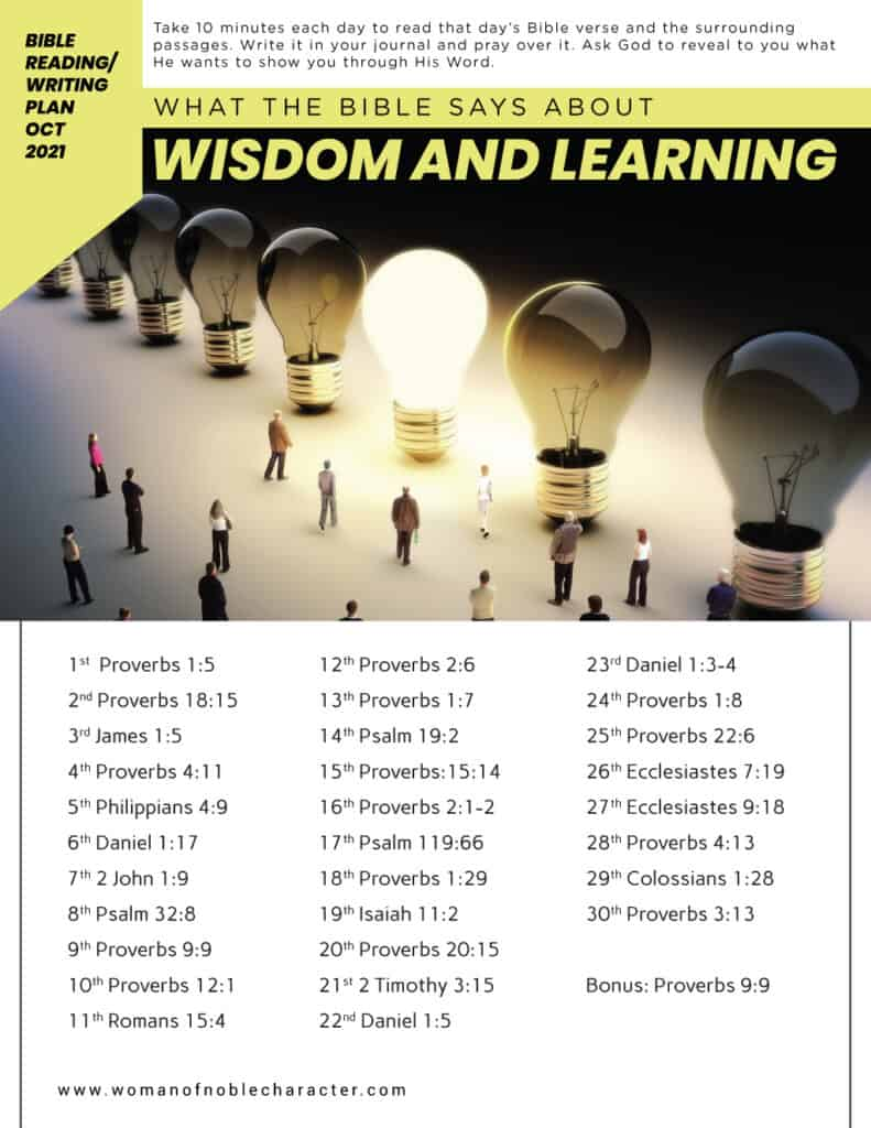 image of people and lightbulbs what the Bible says about wisdom and learning for the page Bible reading and writing plans