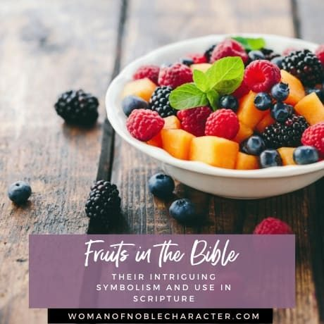 An image of fruit in a white bowl on a wooden table - Fruits in the Bible