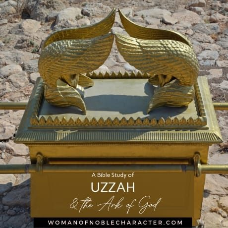 An image of the Ark of the Covenant and text that says Bible Study of Uzzah and the Ark of God